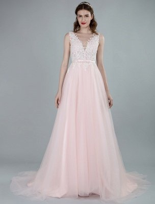 Wedding Dresses A Line Sleeveless Bows V Neck Bridal Dresses With Court Train Exclusive_1