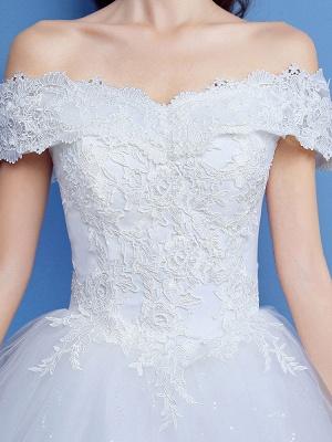 Robe de bal robe de mariée princesse silhouette parole longueur bateau cou manches courtes appliques tulle robes de mariée_3