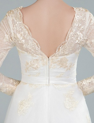 Short Wedding Dress Tulle Knee Length V Neck Long Sleeves A Line Natural Waist Bridal Gowns Exclusive_2