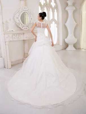 Elfenbeinfarbenes Duchesse-Linienkleid mit Juwelen-Ausschnitt und Pailletten Kapelle-Schleppe-Brautkleid exklusiv für die Braut_4