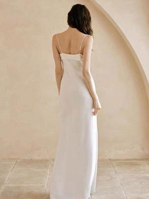 Weißes einfaches Brautkleid aus Polyester mit Ausschnitt Spaghetti-Trägern Schleifen Polyester-Mantel Bodenlange Brautkleider_3
