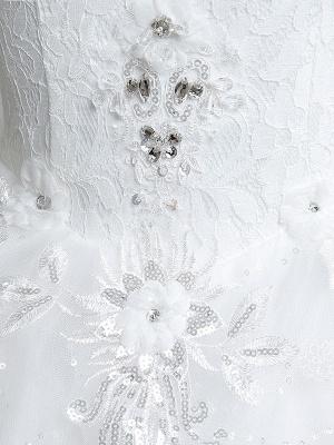 Prinzessin Brautkleider Elfenbein Backless Brautkleid Spitze Applique V-Ausschnitt Langer Zug Brautkleid_7