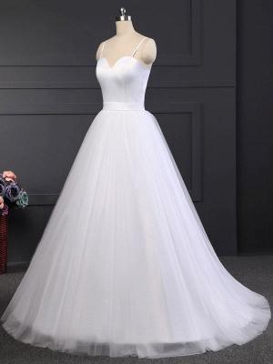 Simple Wedding Dress Tulle Sweetheart Neck Sleeveless Sash A Line Bridal Dresses_5