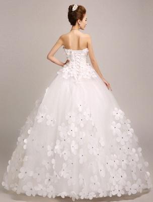 Elfenbein Brautkleider Prinzessin Ballkleider Brautkleid 3D Blumen Trägerlos Perlen Frauen Festzug Kleider_3