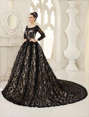 Black Wedding Dress A-Line Scoop Neck Sequin Chapel Train Lace Wedding Gown Exclusive_2