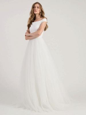 White Simple Wedding Dress A-Line Bateau Neck Off-Shoulder Sleeveless Natural Waistline Pleated Tulle Bridal Dresses_1