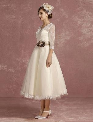 Vintage Brautkleid Kurze Spitze Tüll Brautkleid Halbarm V-Ausschnitt Backless A-Linie Blume Schärpe Tee Länge Brautkleid Exklusiv_8