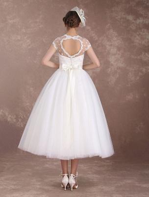 Kurze Brautkleider Vintage 50er Jahre Brautkleid Open Back Polka Dot Elfenbein A Line Tee Länge Hochzeitskleid Exklusiv_4
