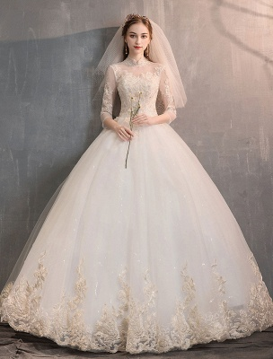 Tulle-Wedding-Dresses-Princess-Bridal-Gown-Illusion-Collar-Half-Sleeve-Floor-Length-Bridal-Dress_2