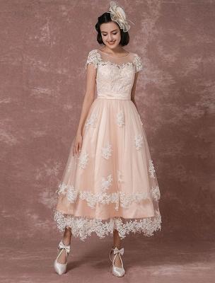 Wedding Dress Short Vintage Bridal Dress Backless Illusion Lace Applique Tea-Length A-Line Reception Bridal Gown Exclusive_3
