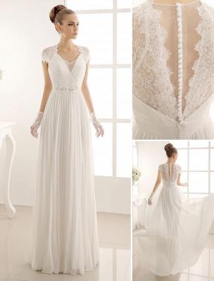 Vestido de novia con escote en pico y encaje hasta el suelo exclusivo_1