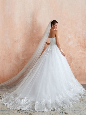 Wedding Dress Princess Silhouette Sweetheart Neck Sleeveless Natural Waist Bridal Gowns With Train_4