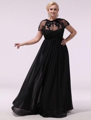 Black Prom Dresses Plus Size Evening Dress Chiffon Lace Applique Illusion Short Sleeves Floor Length Wedding Guest Dress Exclusive_2