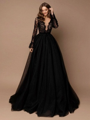 Robe de mariée noire avec train A-ligne col en V manches longues dentelle balayage tulle dentelle robes de mariée_1