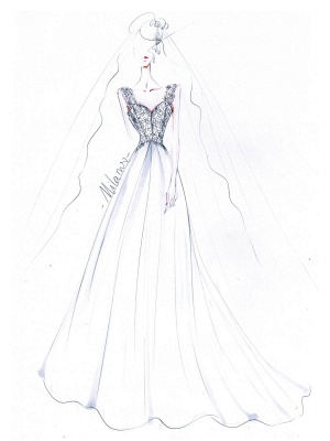 Brautkleid A Line V-Ausschnitt ärmellose Spitze Flora Perlen Brautkleider mit Zug_7