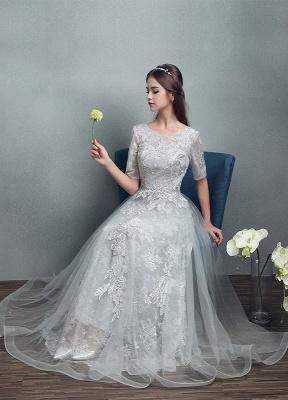 Robes de mariée d'été 2021 dentelle grise appliques Maxi robe de mariée dos nu demi-manches étage longueur robe de mariée_7