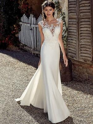 White Simple Wedding Dress White Chiffon Illusion Neckline Sleeveless Court Train Applique Sheath Bridal Gowns_1