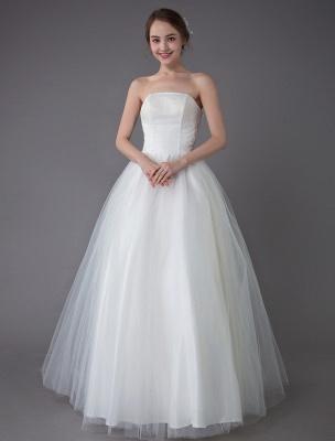 Tulle Wedding Dress Ivory Strapless Sleeveless Princess Dress Ball Gown Floor Length Bridal Dress Exclusive_4
