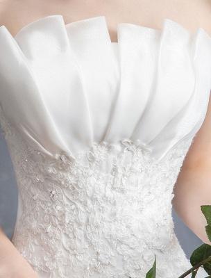 Spitze Brautkleider Elfenbein Trägerlos Ärmellos Applique Prinzessin Brautkleid Mit Zug_9