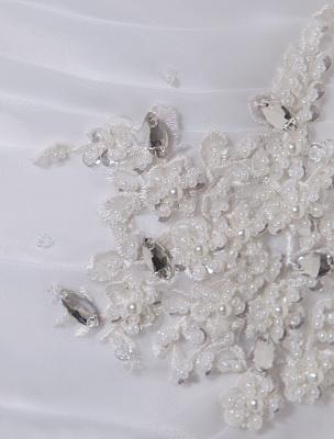 Ivory One-Shoulder Ruched Organza Mermaid Wedding Dress_12