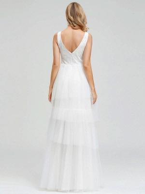 Vestido de novia 2021 Una línea Cuello en V Sin mangas Vestido de pastel de tul multicapa Vestido de novia_4