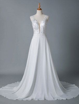 Simple Wedding Dress A Line V Neck Sleeveless Lace Illusion Back Bridal Gowns_4