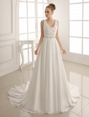 Exklusives Brautkleid mit Umlegekragen und plissiertem Satin_2