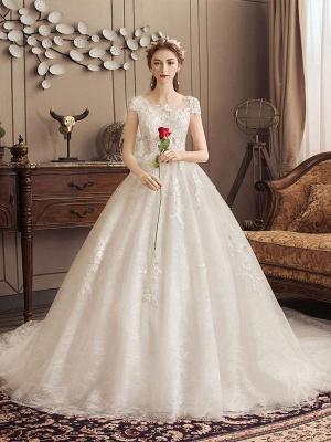 Lace Wedding Dresses Princess Bridal Gown Ivory Jewel Neck Short Sleeve Bridal Dress With Train_2