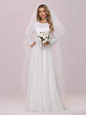 Weißes einfaches Hochzeitskleid Jewel Neck Long Sleeves Natural Waist A-Line Tüll Lange Brautkleider_4