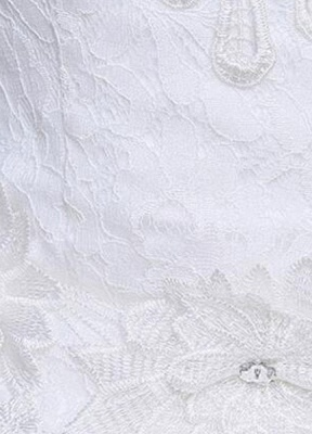 Ivory Wedding Dress Lace Sleeveless V Neck Rhinestones Beaded A-Line Floor Length Bridal Gown_6