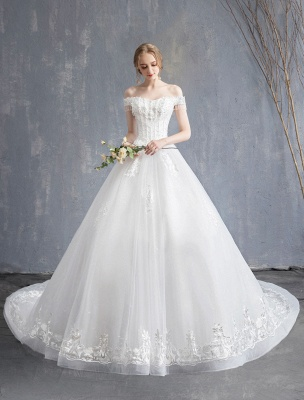 Princess Wedding Dresses Ball Gown Lace Beaded Chains Off The Shoulder Bridal Dress_4