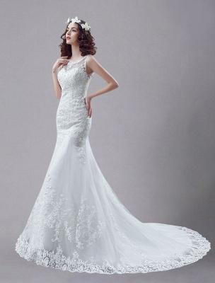 White Wedding Dress Lace Backless Bridal Dresses Rhinestones Beaded Mermaid Wedding Gown_2