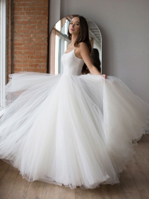 White Wedding Dress Designed Neckline Sleeveless Backless Zipper Tiered With Train Tulle Long Bridal Gowns_2