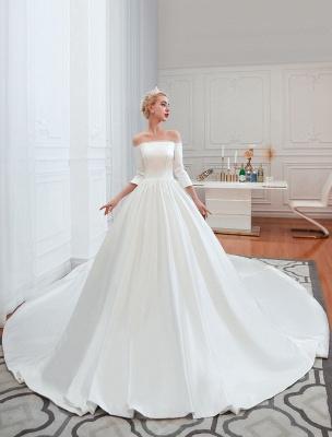 Vintage Brautkleid 2021 Satin 3/4 Ärmel schulterfrei bodenlangen Brautkleider mit Kapelle Zug_7