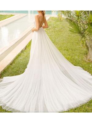 Simple Wedding Dress With Train Mermaid Dress V Neck Sleeveless Lace Bridal Dresses_4