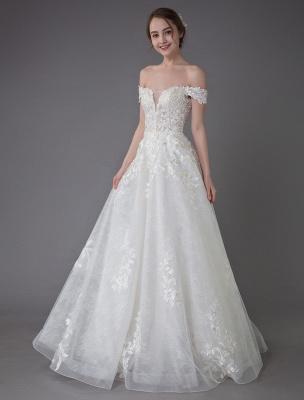Robes de mariée d'été hors de l'épaule dentelle champagne appliques perles maxi plage robes de mariée_6