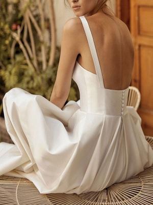 Vintage Brautkleider Square Neck Sleeveless Natural Waist Satin Stoff Gericht Zug Schärpe Brautkleid_3
