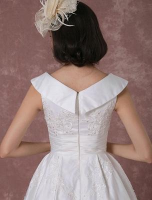 Vintage Wedding Dress Satin Short Bridal Gown Lace Beading Tea Length Reception Bridal Dress Detachable Bow Sash Exclusive_10