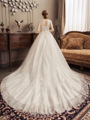 Lace Wedding Dresses Princess Bridal Gown Ivory Jewel Neck Short Sleeve Bridal Dress With Train_4