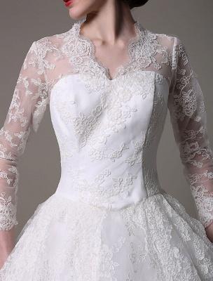 Kate Middleton Royal Wedding Dress Vintage Lace mit V-Ausschnitt und langen Ärmeln Exklusiv_8