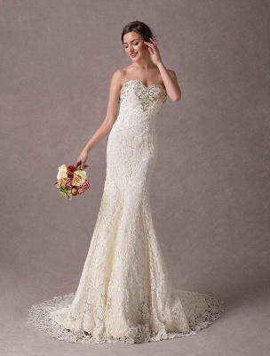 Mermaid Wedding Dresses Lace Strapless Ivory Sweetheart Beaded Bridal Dress With Train Exclusive_2