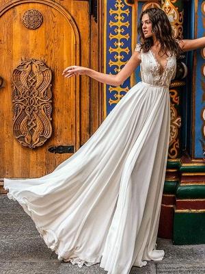 Vestido de novia blanco simple Una línea de tren de la corte Escote en V Cintura natural Sin mangas Gasa Encaje Vestidos de novia_2