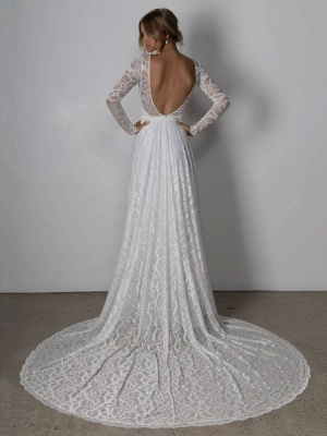 Ivory Lace Wedding Dress Chapel Train A-Line Long Sleeves Lace V-Neck Long Bridal Gowns_4