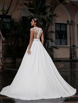 Vestido de novia Playa Corte en A Silueta Joya Cuello Encaje Corpiño Gasa Vestido de novia_3