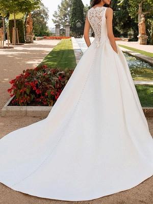Vestidos de novia de color marfil Una línea con vestidos de novia de cuello alto de encaje sin mangas de tren de capilla_2