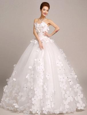 Elfenbein Brautkleider Prinzessin Ballkleider Brautkleid 3D Blumen Trägerlos Perlen Frauen Festzug Kleider_1