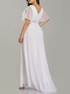 Simple Wedding Dress V Neck Short Sleeves A Line Floor Length Chiffon Sash Plus Size Bridal Gowns With Sweep Train_4
