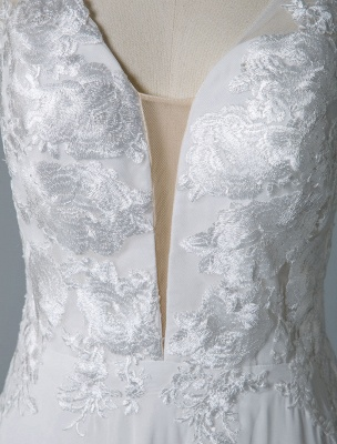 Simple Wedding Dress A Line V Neck Sleeveless Lace Illusion Back Bridal Gowns_8