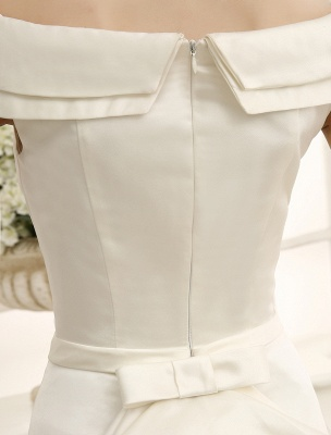 Elfenbeinfarbenes A-Linien-Brauthochzeitskleid mit schulterfreien Rüschen Exklusiv_6