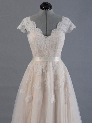 Vestido de novia 2021 Cuello en V Mangas cortas Apliques de encaje Hasta el suelo Tul Vestidos de novia tradicionales_3